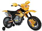 Ride On Bike 6V Electric Scrambler Style Motorcycle with stabilizers in Yellow